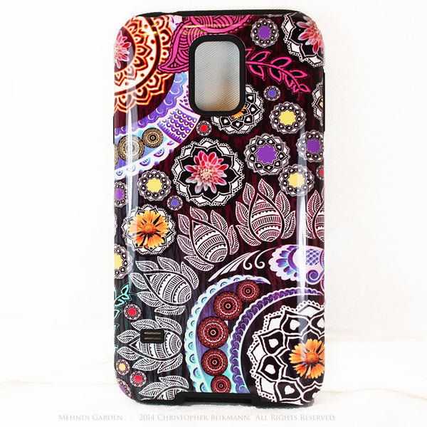 Artistic Colorful Paisley Floral Galaxy S5 case - TOUGH style protective case - Mehndi Garden - Purple Floral - Galaxy S5 TOUGH Case - 1