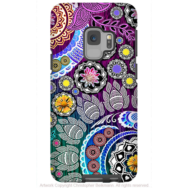 Mehndi Garden - Galaxy S9 / S9 Plus / Note 9 Tough Case - Dual Layer Protection for Samsung S9 - Purple Paisley Art Case