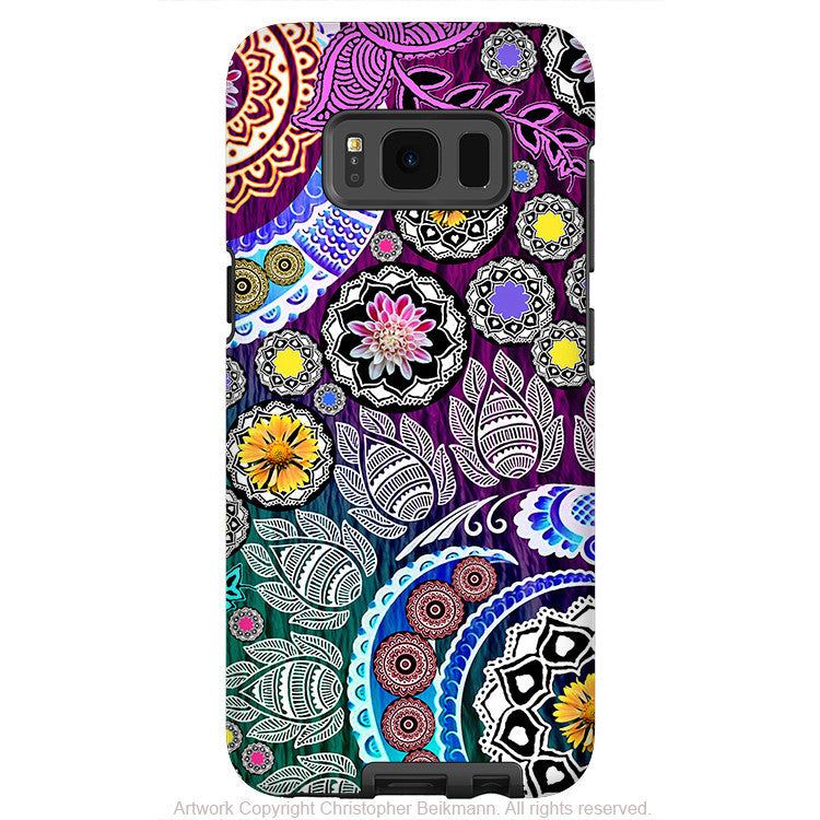 Lovely Purple Floral Paisley   Artistic Samsung Galaxy S8 Tough Case   Dual Layer  Protection   Mehndi ...