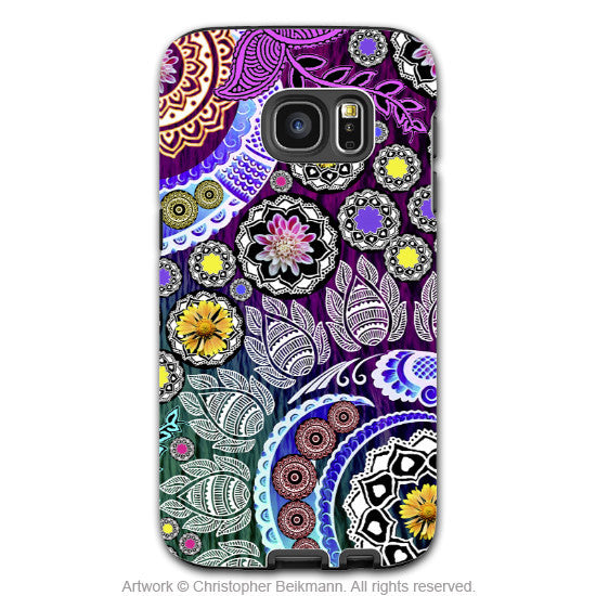 Purple Floral Paisley - Artistic Galaxy S6 EDGE TOUGH Case - Dual Layer Protection - Mehndi Garden - Galaxy S6 Edge Tough Case - 1