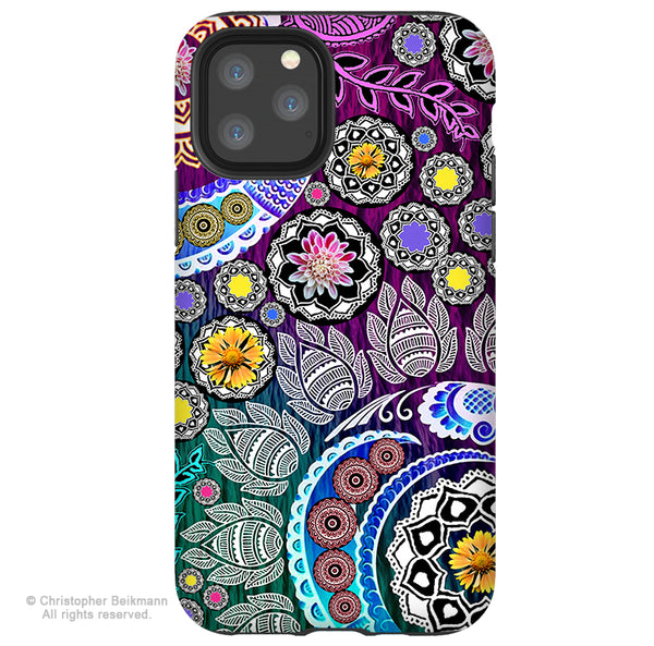 Mehndi Garden - iPhone 12 / 12 Pro / 12 Pro Max / 12 Mini Tough Case Tough Case - Dual Layer Protection for Apple iPhone Paisley Floral Art Case