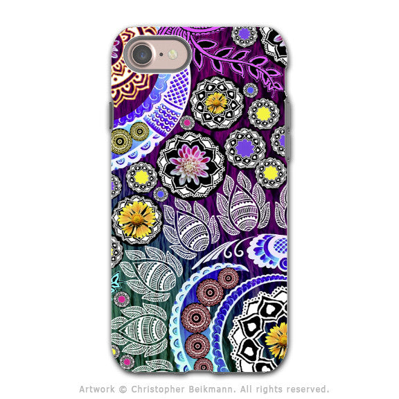 Purple Paisley Mehndi - Artistic iPhone 7 / 8 / SE Gen 2 Tough Case - Dual Layer Protection - Mehndi Garden