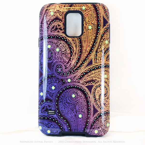 Purple and Yellow Paisley Galaxy S5 case - TOUGH style case - Midnight Astral Paisley - Galaxy S5 TOUGH Case - 1