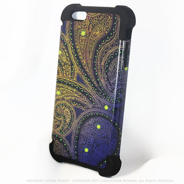 Purple and Yellow Paisley iPhone 6 Plus - 6s Plus Case - Midnight Astral Paisley - iPhone 6 Plus SUPER BUMPER Case - iPhone 6 Plus SUPER BUMPER - 2