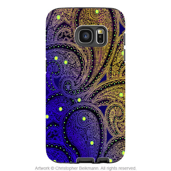 Colorful Purple Paisley - Artistic Galaxy S6 EDGE TOUGH Case - Dual Layer Protection - Midnight Astral Paisley - Galaxy S6 Edge Tough Case - 1
