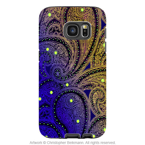 Purple Paisley Galaxy S7 Case - Midnight Astral Paisley - Artistic Samsung Galaxy S7 Tough Case - Galaxy S7 TOUGH Case - 1
