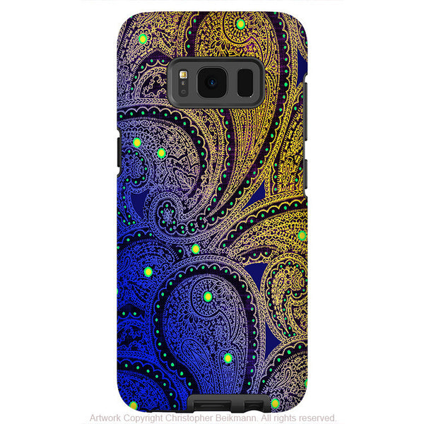 Purple and Yellow Paisley - Artistic Samsung Galaxy S8 PLUS Tough Case - Dual Layer Protection - midnight astral paisley - Fusion Idol Arts