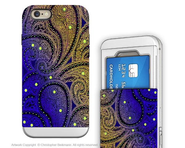 Purple Paisley iPhone 6 6s Cardholder Case - Midnight Astral Paisley - Artistic Credit Card Holder Wallet Case for iPhone 6s - iPhone 6 6s Cardholder Case - 1