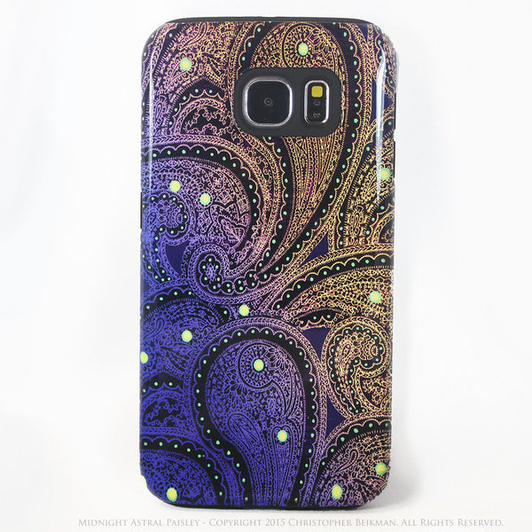 Purple and Yellow Paisley Galaxy S6 Tough Case - Midnight Astral Paisley - Galaxy S6 case - Galaxy S6 TOUGH Case - 1
