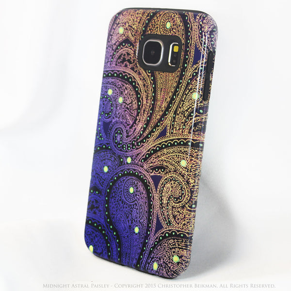 Purple and Yellow Paisley Galaxy S6 Tough Case - Midnight Astral Paisley - Galaxy S6 case - Galaxy S6 TOUGH Case - 2