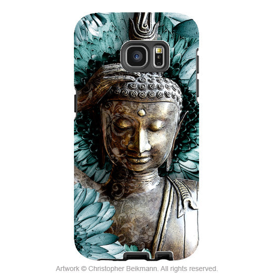 Floral Buddha Galaxy S7 Case - Mind Bloom - Zen Blue and Brown Buddhist Galaxy S7 Case