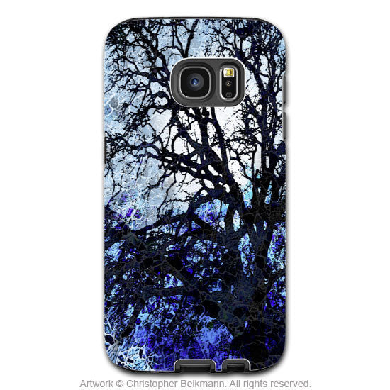 Blue and Black Tree Silhouette - Unique Art Samsung Galaxy S7 EDGE Tough Case - Dual Layer Protection - Moonlit Night