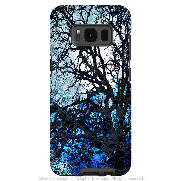 Blue and Black Tree Silhouette - Artistic Samsung Galaxy S8 Tough Case - Dual Layer Protection - moonlit night - Fusion Idol Arts
