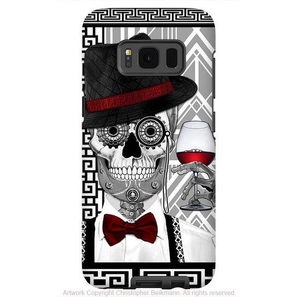 1920's Sugar Skull Galaxy S8 Case - Mr JD Vanderbone - Black and White Sugar Skull S8 Tough Case - Fusion Idol Arts