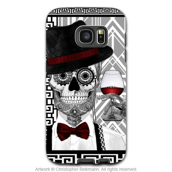 1920's Sugar Skull Galaxy S7 Edge Tough Case - Mr JD Vanderbone - Black and White Sugar Skull S7 EDGE TOUGH Case - Galaxy S7 EDGE TOUGH Case - 1