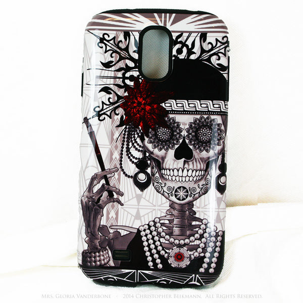Flapper Girl Sugar Skull - Mrs Gloria Vanderbone - Day of The Dead Art Galaxy S4 case - TOUGH style protective case - Galaxy S4 TOUGH Case - 1