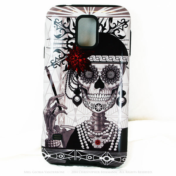 Flapper Girl Sugar Skull - Mrs Gloria Vanderbone - Day of The Dead Art Galaxy S5 case - TOUGH style protective case - Galaxy S5 TOUGH Case - 1