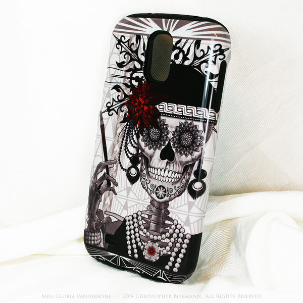 Flapper Girl Sugar Skull - Mrs Gloria Vanderbone - Day of The Dead Art Galaxy S4 case - TOUGH style protective case - Galaxy S4 TOUGH Case - 2