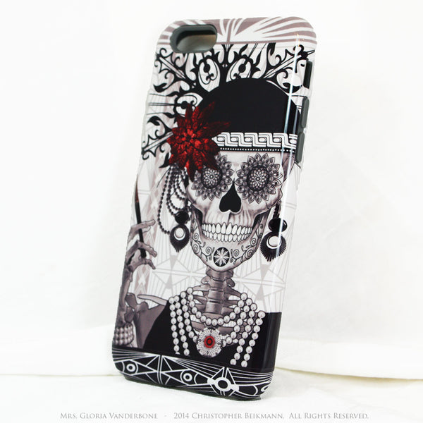 Flapper Girl Skull iPhone 6 6s Plus TOUGH Case - 1920s Art Deco Sugar Skull iPhone Case - Day of the Dead - Artistic Case for iPhone 6 6s Plus - iPhone 6 6s Plus Tough Case - 2