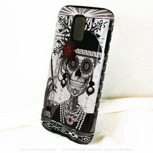 Flapper Girl Sugar Skull - Mrs Gloria Vanderbone - Day of The Dead Art Galaxy S5 case - TOUGH style protective case - Galaxy S5 TOUGH Case - 2