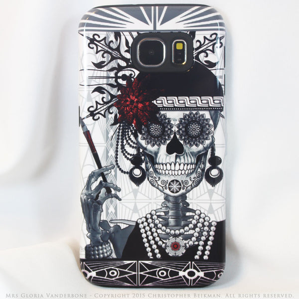 Flapper Girl Sugar Skull - Mrs Gloria Vanderbone - Day of The Dead Art Galaxy S6 case - TOUGH style protective case - Galaxy S6 TOUGH Case - 1