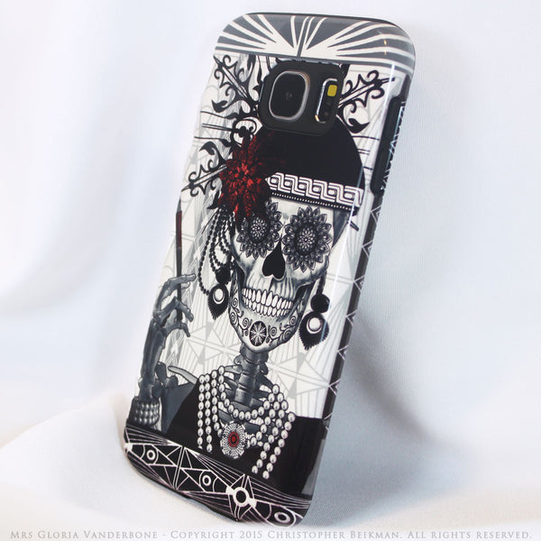 Flapper Girl Sugar Skull - Mrs Gloria Vanderbone - Day of The Dead Art Galaxy S6 case - TOUGH style protective case - Galaxy S6 TOUGH Case - 2