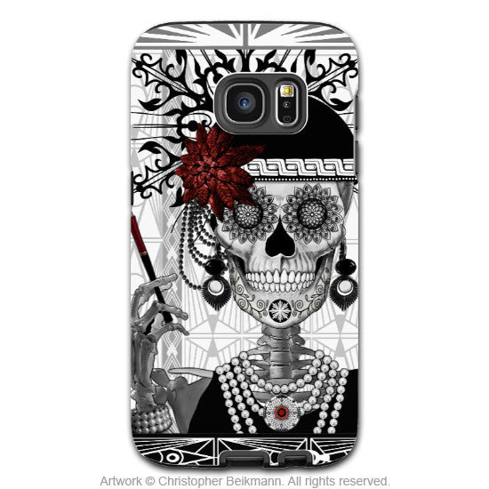 Flapper Girl Sugar Skull Galaxy S7 Case - Mrs Gloria Vanderbone - Black and White Sugar Skull S7 Tough Case