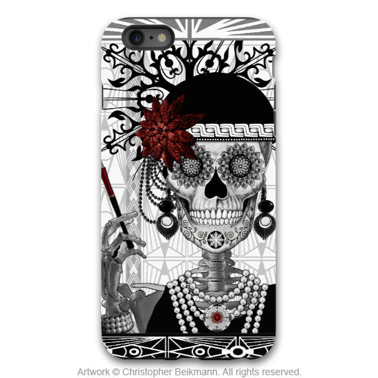 Flapper Girl Skull iPhone 6 6s Plus TOUGH Case - 1920s Art Deco Sugar Skull iPhone Case - Day of the Dead - Artistic Case for iPhone 6 6s Plus - iPhone 6 6s Plus Tough Case - 1