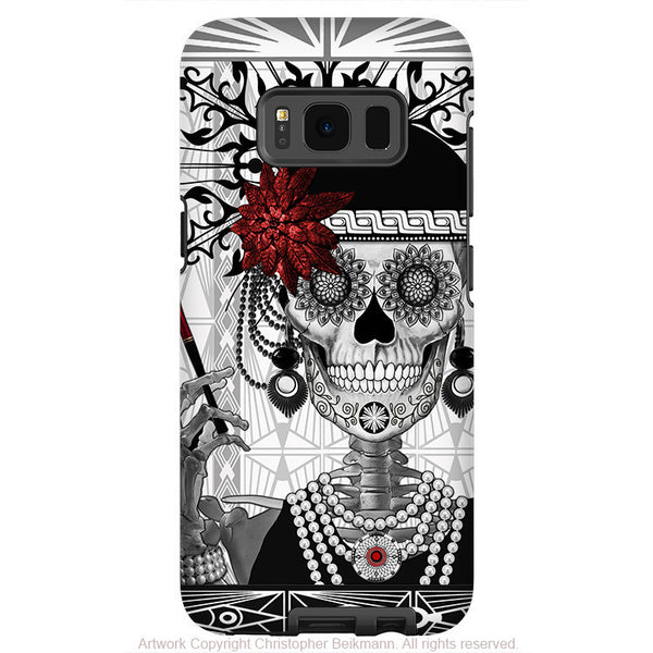 Flapper Girl Sugar Skull Galaxy S8 Case - Mrs Gloria Vanderbone - Black and White Sugar Skull S8 Tough Case - Fusion Idol Arts