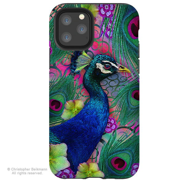 Nemali Dreams - Peacock iPhone 12 / 12 Pro / 12 Pro Max / 12 Mini Tough Case Tough Case - Dual Layer Protection for Apple iPhone XI - Peacock Floral Art Case