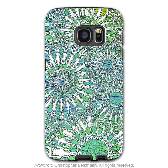 Turquoise Sea Urchin - Artistic Galaxy S6 EDGE TOUGH Case - Dual Layer Protection - Ocean Lace - Galaxy S6 Edge Tough Case - 1