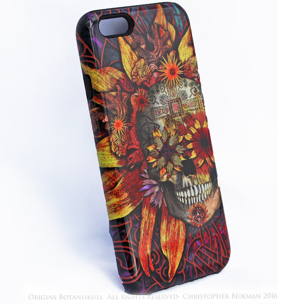 iPhone 6 6s Plus Floral Skull Case - Origins Botaniskull - Day of the Dead - Artistic Tough Case for iPhone 6 6s Plus - iPhone 6 6s Plus Tough Case - 2
