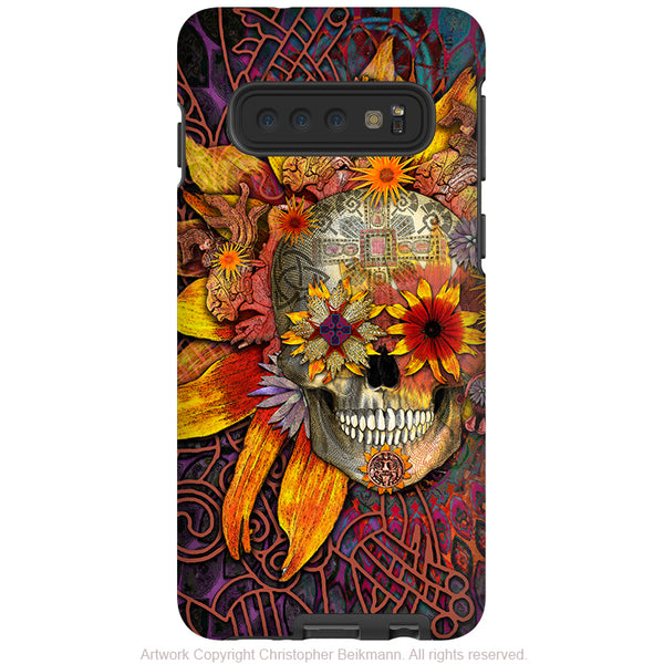 Origins Botaniskull - Galaxy S10 / S10 Plus / S10E Tough Case - Dual Layer Protection - Sunflower Sugar Skull Case