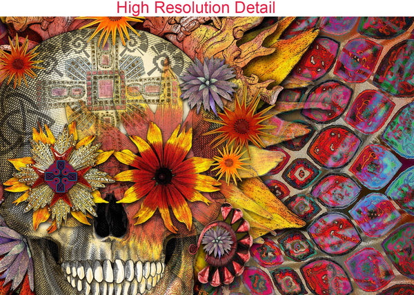 Floral Sugar Skull - Canvas Print - Solid Surface with Fully Finished Back and UV Coating - Origins Botaniskull - Premium Canvas Gallery Wrap - Fusion Idol Arts - New Mexico Artist Christopher Beikmann