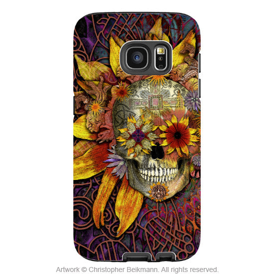 Botanical Sugar Skull Galaxy S7 Case - Origins Botaniskull - Floral Sugar Skull Samsung Galaxy S7 Tough Case - Galaxy S7 TOUGH Case - 1