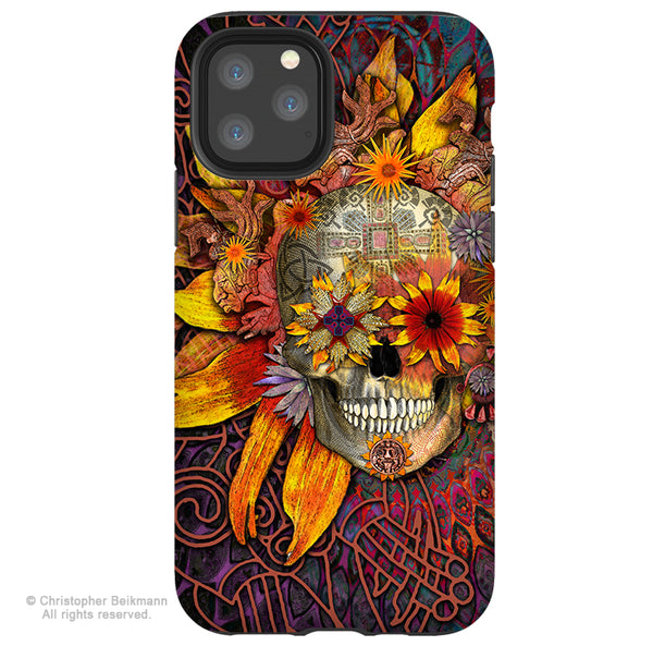 Origins Botaniskull - iPhone 11 / 11 Pro / 11 Pro Max Tough Case - Dual Layer Protection for Apple iPhone XI - Sunflower Sugar Skull Case