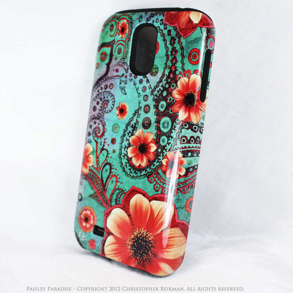 Teal Floral Paisley Galaxy S4 case - TOUGH style protective case - Paisley Paradise - Galaxy S4 TOUGH Case - 2