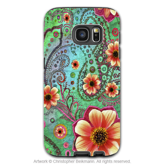 Paisley Galaxy S7 Case - Modern Green and Orange Floral Samsung Galaxy S7 Tough Case - Paisley Paradise - Galaxy S7 TOUGH Case - 1