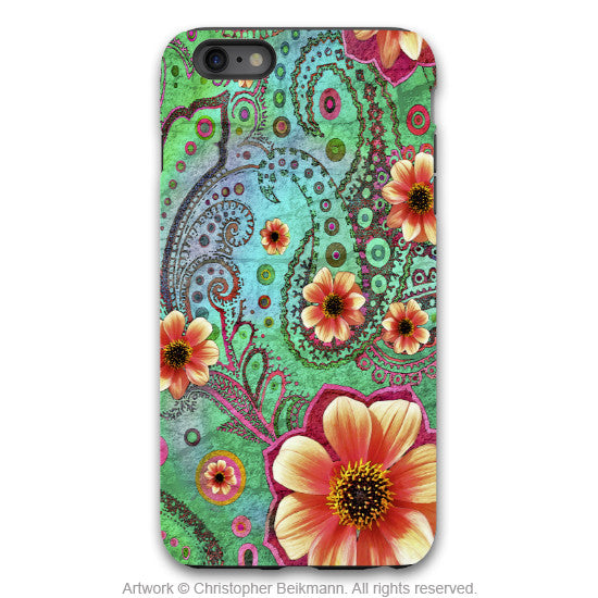 Paisley iPhone 6 6s Plus TOUGH Case - Paisley Paradise - Teal Green and Orange Paisley Floral Art - Unique Case for iPhone 6 6s Plus - iPhone 6 6s Plus Tough Case - 1