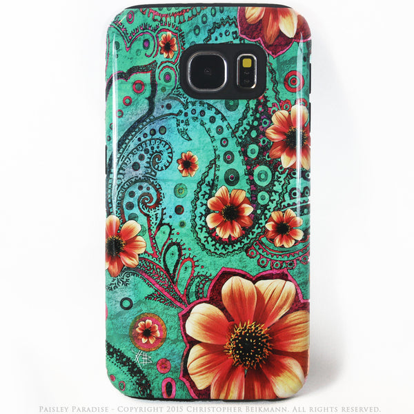Premium Teal Paisley Galaxy S6 Tough Case - Paisley Paradise - Modern Floral Galaxy S6 case - Galaxy S6 TOUGH Case - 1