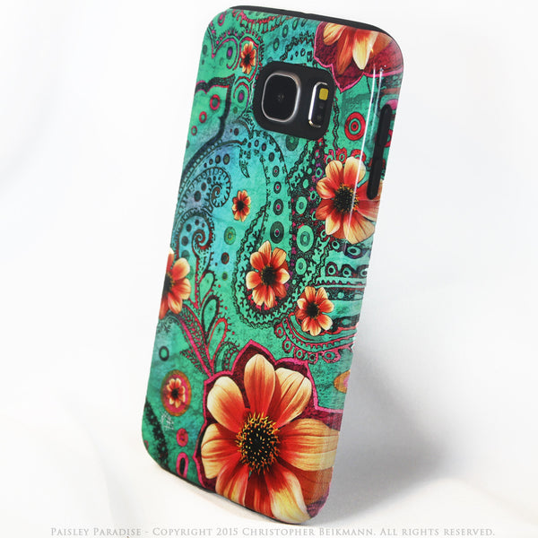Premium Teal Paisley Galaxy S6 Tough Case - Paisley Paradise - Modern Floral Galaxy S6 case - Galaxy S6 TOUGH Case - 2