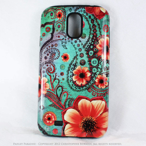 Teal Floral Paisley Galaxy S4 case - TOUGH style protective case - Paisley Paradise - Galaxy S4 TOUGH Case - 1