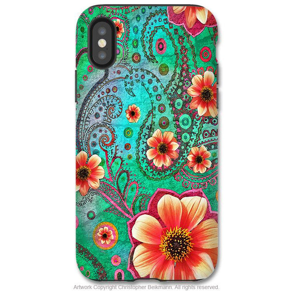 Paisley Paradise - iPhone X Tough Case - Dual Layer Protection for Apple iPhone 10 - Teal Paisley Floral Art Case - iPhone X Tough Case - Fusion Idol Arts - New Mexico Artist Christopher Beikmann