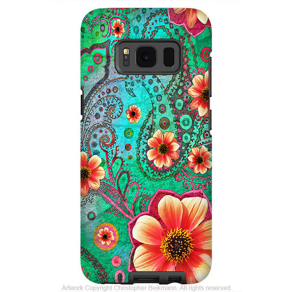Teal Floral Paisley - Artistic Samsung Galaxy S8 PLUS Tough Case - Dual Layer Protection - paisley paradise - Fusion Idol Arts