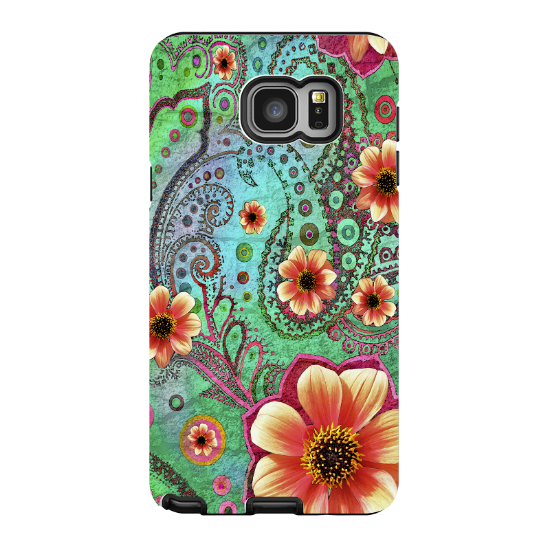 Paisley Galaxy NOTE 5 Case - Modern Green and Orange Floral Samsung Galaxy NOTE 5 Tough Case - Paisley Paradise - Galaxy NOTE 5 TOUGH Case - 1