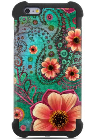 Teal Paisley iPhone 6 Plus / 6s Plus Case - Paisley Paradise - Floral iPhone 6 Plus SUPER BUMPER Case - iPhone 6 Plus SUPER BUMPER - 1