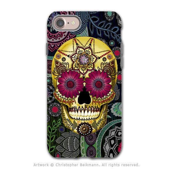 Colorful Paisley Sugar Skull - Artistic iPhone 7 Tough Case - Dual Layer Protection - Sugar Skull Paisley Garden - iPhone 7 Tough Case - 1
