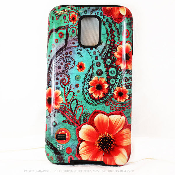 Teal Floral Paisley Galaxy S5 case - TOUGH style case - Paisley Paradise - Galaxy S5 TOUGH Case - 1