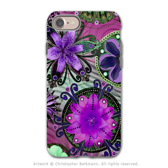 Purple and Green Paisley iPhone 7 / 8 / SE Gen 2 Tough Case - Dual Layer Protection - Paradisa Purpala