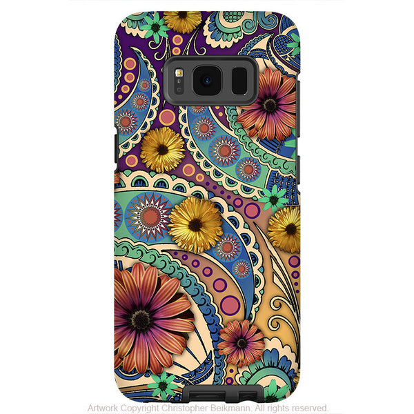 Colorful Paisley Daisy Art - Artistic Samsung Galaxy S8 Tough Case - Dual Layer Protection - petals and paisley - Fusion Idol Arts